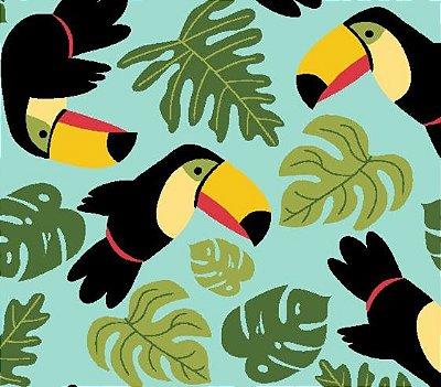 Tecido Tricoline Estampado de Tucano e Folhas - Fundo Tiffany - Coleção Tucano Tropical - 50 cm X 150 cm