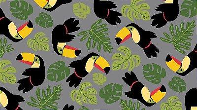 Tecido Tricoline Estampado de Tucano e Folhas - Fundo Cinza - Coleção Tucano Tropical - Preço de 50 cm X 150 cm