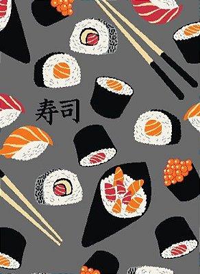 Tecido Tricoline Estampado de Sushi - Fundo Cinza - Coleção Sushi Bar - Preço de 50 cm X 150 cm