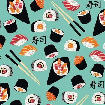 Tecido Tricoline Estampado de Sushi - Fundo Tiffany - Coleção Sushi Bar - Preço de 50 cm X 150 cm