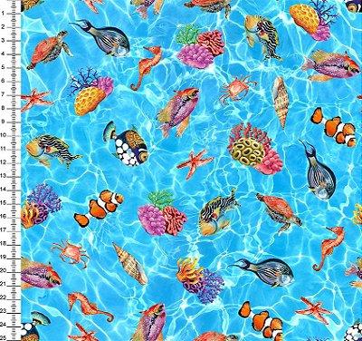 Tecido Digital - Peixes e Corais - 50cm x 150cm