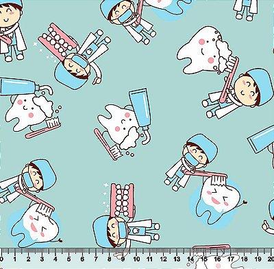 Tecido Tricoline Dentes e Crianças - Fundo Verde Água - Preço de 50 cm x 150 cm