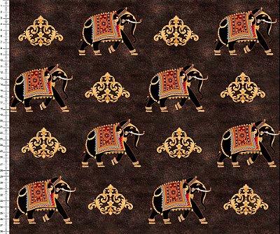 Tecido Digital - Indiano - Elefantes - Fundo Marrom  - Preço de 50cm x 150cm