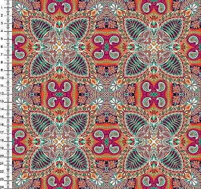 Tecido Digital - Mandala - Fundo Laranja - 50cm x 150cm