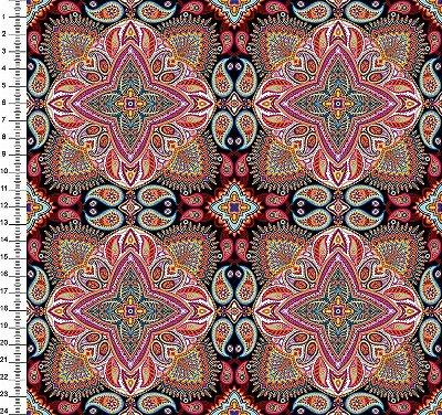 Tecido Digital - Mandala - Fundo Preto - Preço de 50cm x 150cm
