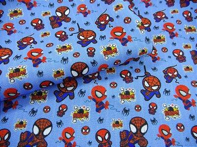 Tecido Estampa Exclusiva de Personagens - Homem Aranha - 100% poliéster - 89cm x 63cm ou 89cm x 126cm