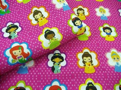 Tecido Estampa Exclusiva de Personagens - Princesas - 100% poliéster - Preço de 80cm x 60cm