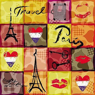 Tecido Tricoline Digital - Torre Paris e Corações - Preço de 50cm x 150cm