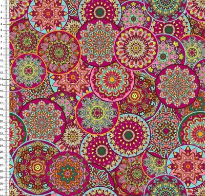 Tecido Tricoline Digital Mandalas Pink - Preço de 50cm x 150cm