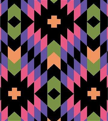 Tecido Tricoline Geométrico - Fundo Preto - Coleção Flores do Deserto - 50 cm X 150 cm
