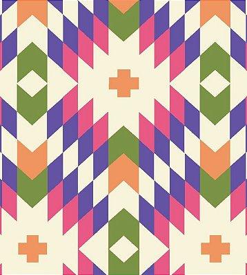 Tecido Tricoline Geométrico - Fundo Creme - Coleção Flores do Deserto - 50 cm X 150 cm