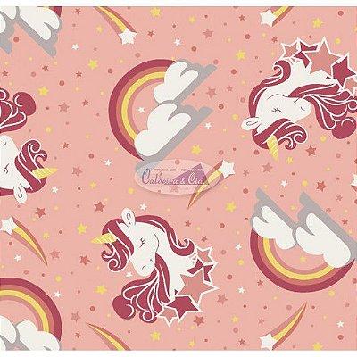 Tecido Tricoline Infantil do Unicórnio (Fundo Rosa Salmão) - Coleção Sweet Dreams - Corte Mínimo 50 cm X 150 cm
