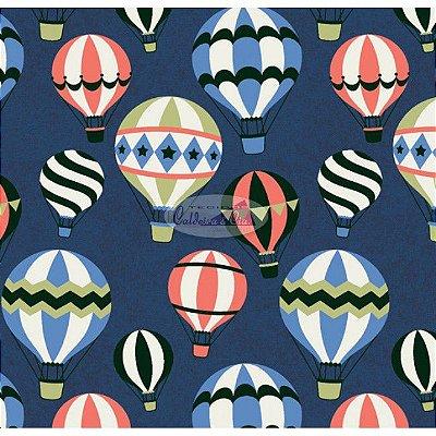 Tecido Tricoline Infantil do Balão (Fundo Azul Marinho) - Coleção Viva a Natureza - Corte Mínimo 45 cm X 150 cm