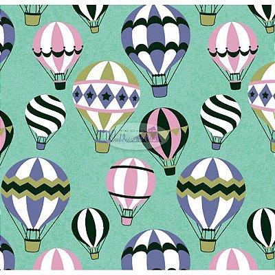 Tecido Tricoline Infantil do Balão (Fundo Verde) - Coleção Viva a Natureza - Corte Mínimo 50 cm X 150 cm