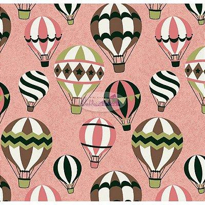 Tecido Tricoline Infantil do Balão (Fundo Rosa Salmão) - Coleção Viva a Natureza - Corte Mínimo 50 cm X 150 cm