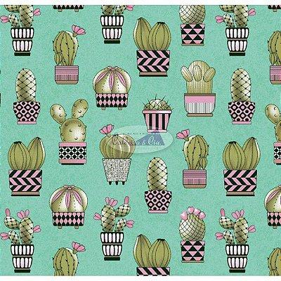 Tecido Tricoline Cactus (Fundo Tiffany) - Coleção Viva a Natureza - Preço de 50 cm X 150 cm