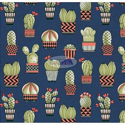 Tecido Tricoline Cactus (Fundo Azul Marinho) - Coleção Viva a Natureza - Corte Mínimo 45 cm X 150 cm