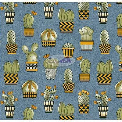 Tecido Tricoline Cactus (Fundo Azul Jeans) - Coleção Viva a Natureza - Corte Mínimo 50 cm X 150 cm