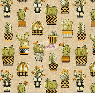 Tecido Tricoline Cactus (Fundo Bege) - Coleção Viva a Natureza - Preço de 50 cm X 150 cm