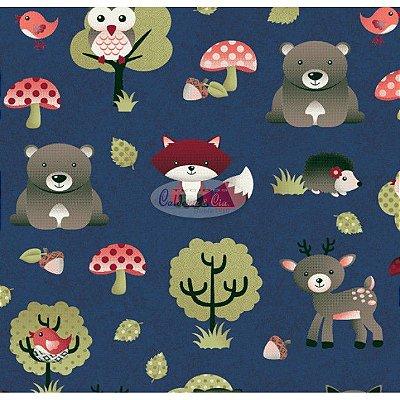 Tecido Tricoline Infantil Animais e Floresta (Fundo Azul Marinho) - Coleção Viva a Natureza - Corte Mínimo 50 cm X 150 cm