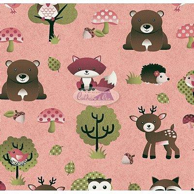 Tecido Tricoline Infantil Animais e Floresta (Fundo Rosa Salmão) - Coleção Viva a Natureza - Corte Mínimo 50 cm X 150 cm