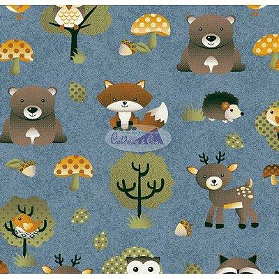Tecido Tricoline Infantil Animais e Floresta (Fundo Azul Jeans) - Coleção Viva a Natureza - Preço de 50 cm X 150 cm