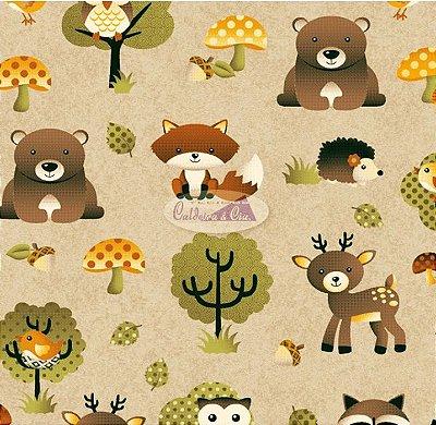 Tecido Tricoline Infantil Animais e Floresta (Fundo Bege) - Coleção Viva a Natureza - Preço de 45 cm X 150 cm