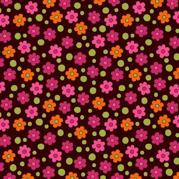 Tecido Tricoline Estampa Mini Floral Fundo Café - Coleção Alegria - Preço de 50 cm X 150 cm