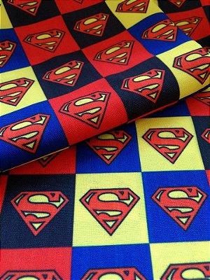 Tecido Estampa Exclusiva de Personagens - Super Homem- 100% poliéster - Preço de 80cm x 60cm