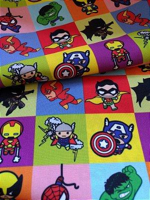 Tecido Estampa Exclusiva de Personagens - Heróis: Homem Aranha, Capitão América, Hulk, Batman, Robin, Flash, Thor e Wolverine - 100% poliéster - 80cm x 60cm