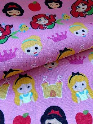 Tecido Estampa Exclusiva de Personagens - Princesas Faces: Alice, Branca de Neve, Pequena Sereia e Cinderela- 100% poliéster - Preço de 80cm x 60cm