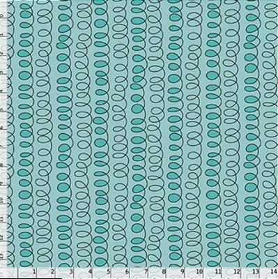 Tecido Tricoline Estampa de Caligrafia - Fundo Azul - Coleção Gato Maroto - Preço de 50 cm X 150 cm