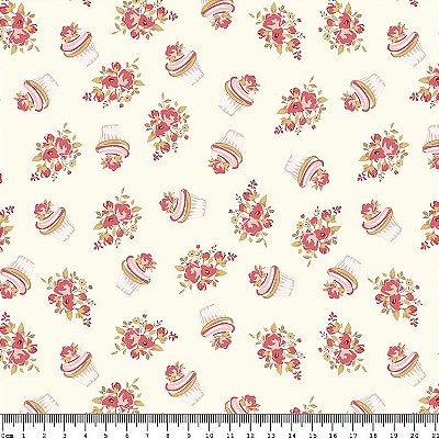 Tecido Tricoline Cupcake Flowers Vanilla (Fundo Creme) - Coleção So Spring By Anita Catita - Preço de 45 cm x 150cm