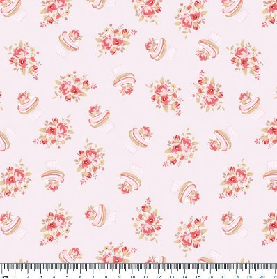 Tecido Tricoline Cupcake Flower Rosa Cotton (Fundo Rosa) - Coleção So Spring By Anita Catita - Preço de 45 cm x 150cm