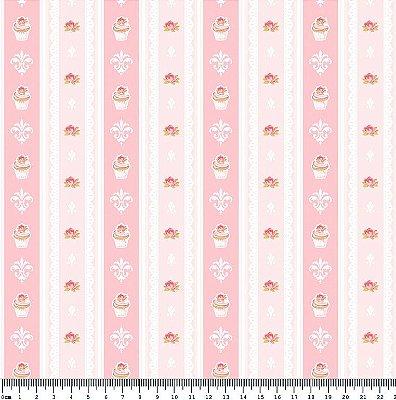 Tecido Tricoline Cupcake Lace Rosa Cotton (Fundo Rosa) - Coleção So Spring By Anita Catita - Preço de 50 cm x 150cm