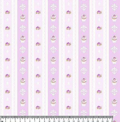 Tecido Tricoline Cupcake Lace Lavanda (Fundo Lilás) - Coleção So Spring By Anita Catita - Preço de 50 cm x 150cm
