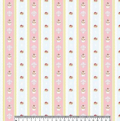 Tecido Tricoline Cupcake Lace Azul Brisa (Fundo Azul) - Coleção So Spring By Anita Catita - Preço de 50 cm x 150cm
