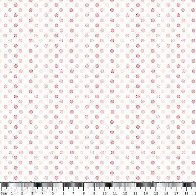 Tecido Tricoline Mult Poá Rosa (Fundo Branco) - Preço de 50 cm x 150cm