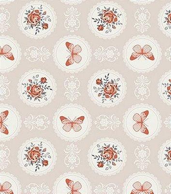 Tecido Tricoline Floral e Borboletas - Fundo Bege - Preço de 50 cm X 150 cm