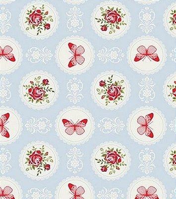 Tecido Tricoline Floral e Borboletas - Fundo Azul - Preço de 50 cm X 150 cm