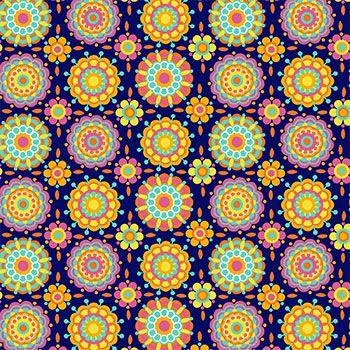 Tecido Tricoline Estampa Mini Mandalas (Fundo Azul) - Coleção Dias Felizes - Preço de 50 cm X 150 cm