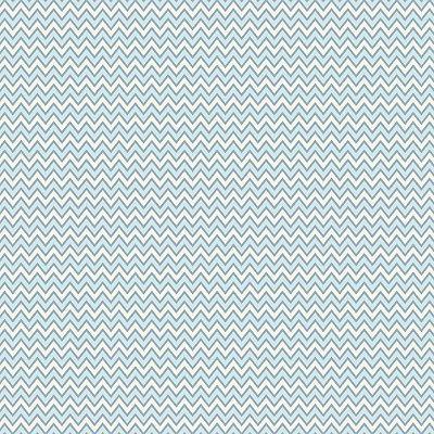 Tecido Tricoline Estampa Chevron Creme com Azul Claro - Preço de 50 cm x 150 cm