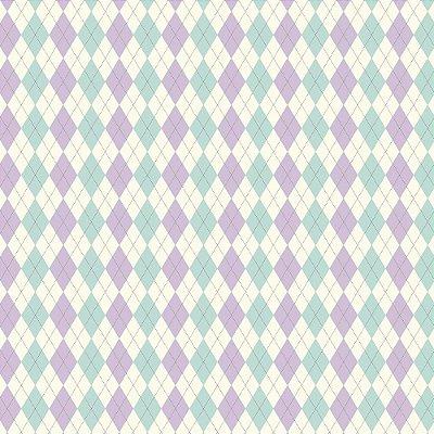 Tecido Triccoline Estampado Argile Azul Piscina e Lilás (Lavanda) - Coleção Anita Catita - Preço de 50cm x 150cm