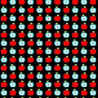 Tecido Tricoline Estampa de Maçãs  (Fundo Preto) - Coleção Maçãs Encantadas - Preço de 50 cm x 150 cm