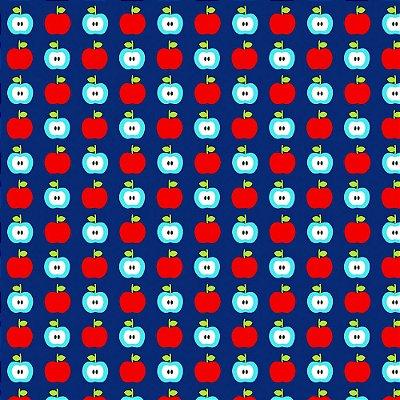 Tecido Tricoline Estampa de Maçãs  (Fundo Azul) - Coleção Maçãs Encantadas - Preço de 50 cm x 150 cm