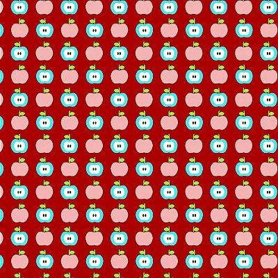Tecido Tricoline Estampa de Maçãs  (Fundo Vermelho) - Coleção Maçãs Encantadas - Preço de 50 cm x 150 cm