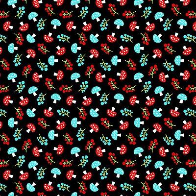 Tecido Tricoline Estampa de Cogumelo (Fundo Preto) - Coleção Maçãs Encantadas - Preço de 50 cm x 150 cm