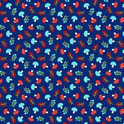 Tecido Tricoline Estampa de Cogumelo (Fundo Azul) - Coleção Maçãs Encantadas - Preço de 50 cm x 150 cm