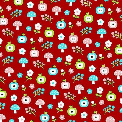 Tecido Tricoline Estampa de Maçã com Cogumelo Escarlate (Fundo Vermelho) - Coleção Maçãs Encantadas - Preço de 50 cm x 150 cm
