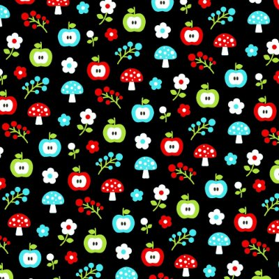 Tecido Tricoline Estampa de Maçã com Cogumelo (Fundo Preto) - Coleção Maçãs Encantadas - Preço de 50 cm x 150 cm